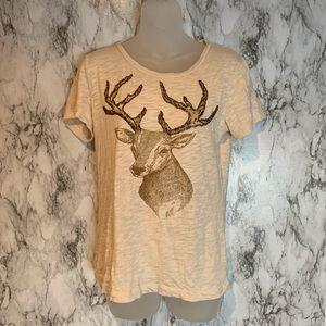 J.Crew Deer Graphic Beaded Cream T Shirt Top